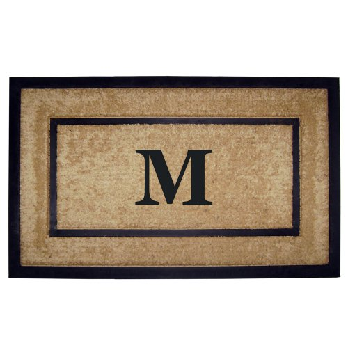 Nedia Home Single Picture Black Frame with Coir Rubber Border Dirt Buster Mat, 22 by 36-Inch,...
