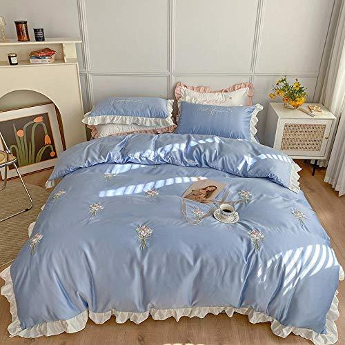 Bedding-LZ Set Copripiumino Singolo Cotone,Sci da Principessa Seta, Dormire, Estate, Acqua è Lavata, Regalo in Quattro Pezzi di Seta-1,5 Letto (4 Pezzi)_Volare
