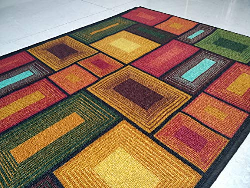 BuyElegant Brown Blocks 3D Design Area Alfombra piso superabsorbente poliéster ecológico látex en la parte posterior para alfombra de juego antideslizante suave al tacto 150 x 80 cm