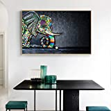 Arte Mural Cartel Animal sobre Lienzo Pared Foto Color Elefante Familia Sala de Estar,Pintura sin marco-50X75cm