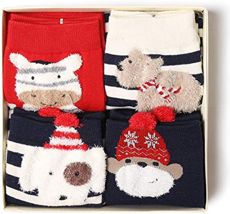 KALENAME (3 Groups) Christmas Stockings Sweet Cotton Tube Stockings New Gift Box Cartoon Ladies Socks