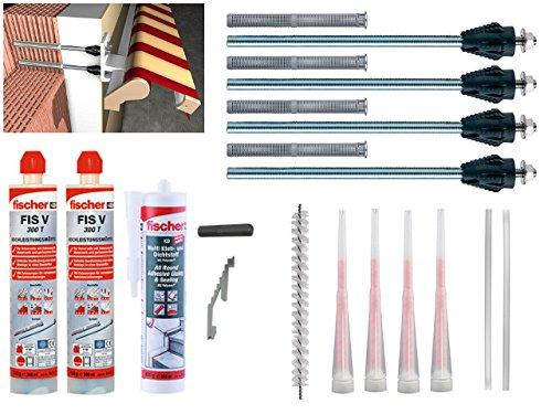 Fischer Thermax Befestigungsset 4 x 12/110 M12 Hochleistungsmörtel FIS V 300 T Multi Kleb und Dichtstoff KD-290 Zylinderbürste