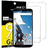 NEW'C 2 Stück, PanzerglasFolie Schutzfolie für LG Google Nexus 6, Frei von Kratzern Fingabdrücken & Öl, 9H Festigkeit, HD Bildschirmschutzfolie, 0.33mm Ultra-klar, Ultrawiderstandsfähig