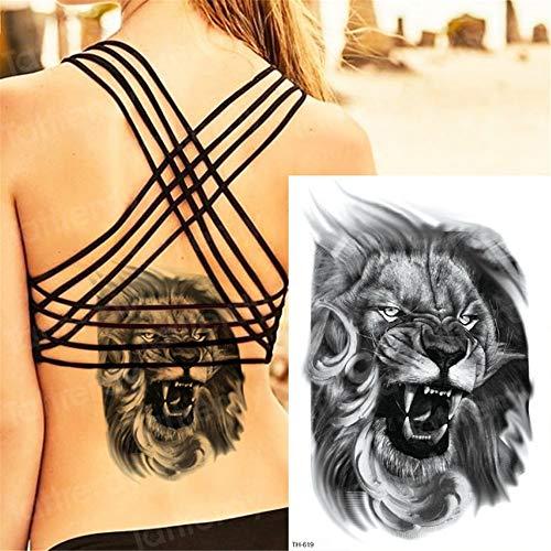 Handaxian 3pcsDurable Tattoo Animal Tête De Lion De Tatouage Bâton Art du Corps Imperméable À l'eau Forest Tattoo Black Thigh Tattoo 3pcs-12