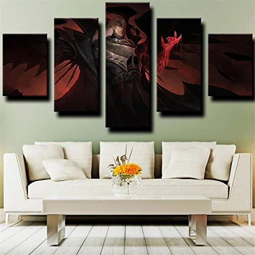 5 Stück Gemälde Wand Kunst Wohnzimmer Poster Modern Magier Kämpfer Sven 5 Panel Hd-Druck Moderne Modulare Kinderzimmerdekoration Neujahrsgeschenk