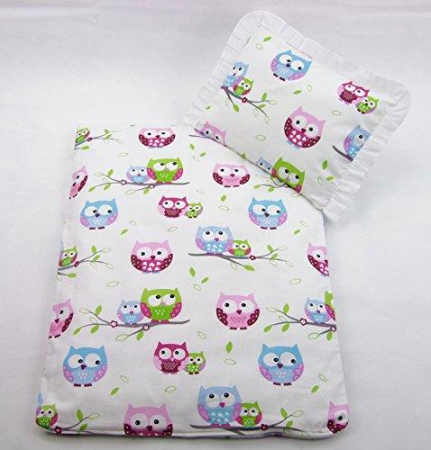 Rawstyle 4 tlg. Babybettwäsche Set Garnitur Kinderbettwäsche Bettwäsche **Decke + Kissen + Füllung** (Eulen Rosa)