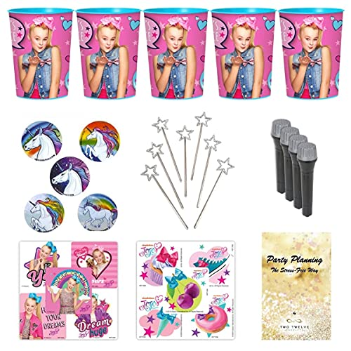 JoJo Siwa Party Favor Cup and Stickers and Other Goodies, 12 Guests, 96 Pieces, Birthday Goody Bag