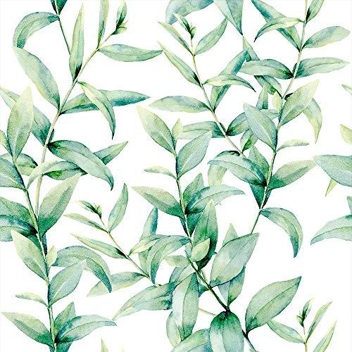 murando Papel Pintado 10 m Hojas Fotomurales tejido no tejido rollo Decoración de Pared decorativos Murales XXL moderna de Diseno Fotográfico - Verde Blanco Naturaleza b-C-0243-j-a
