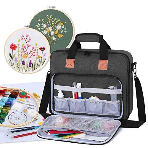 Luxja Tasche für Stickerei Set, Kreuzstich Zubehör Tasche, Stickerei Tasche für Stickrahmen, Farbfäden, Stickgarn und andere Stickerei kit, Schwarz
