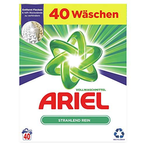 Ariel Waschmittel Pulver, Waschpulver, Vollwaschmittel, Strahlend Rein, 40 Waschladungen (2.6 kg)