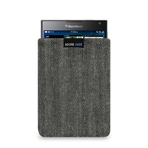 Adore June Business Tasche für BlackBerry Passport Handytasche aus charakteristischem Fischgrat Stoff - Grau/Schwarz | Schutztasche Zubehör mit Bildschirm Reinigungs-Effekt | Made in Europe