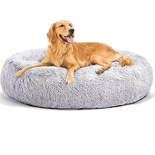 NIBESSER - Cama para perro XXL grande desenfundable, alfombra de perro suave, cojín ortopédico para perro, anti estrés, cama redonda XXXL para perro, anti estrés (gris claro, 120 cm)