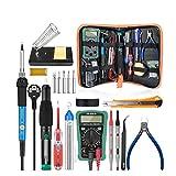 CRZJ Elektrische Lötkolben Set, 60W Lötkolbenpistolen-Kit mit Einstellbarer Temperatur und Digitalmultimeter