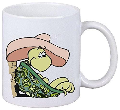 Bandenmarkt koffiemok motief nr. 12910 schildpad in Sombrero cartoon plezier fun cult film cartoon plezier fun cult film keramiek hoogte 9,5 cm ? 8 cm in wit