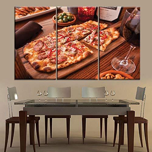 ZDtgcf 3-delig canvas kunstdruk canvasfoto lekkere pizza en rode wijn kunstdruk op muurschildering met frame klaar om op te hangen 35cmx50cmx3