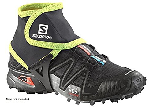 Salomon Trail Gaiters Low, Black/Alpha Yellow, 9.5-12 (Large)