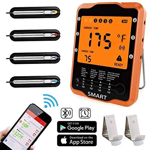 Bratenthermometer Rilitor Digital Grillthermometer mit 4 Sonden Wireless Ofenthermometer Küchenwecker Fleischthermometer für BBQ, Garraum, Smoker, Steak, Unterstützt IOS, Android