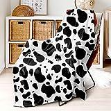 Manta blanca y negra de 130 x 150 cm, pequeña con estampado de vaca, muy mullida, de franela de microfibra, para adultos y niños