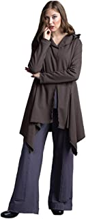 Women's Cotton Cardigan Female Loose Fit Jacket with Stylish Asymmetric Hems, Large Buttons and Hoody