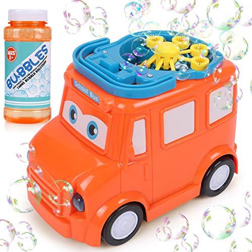 Latocos Maquina Pompas de Jabón Burbujas de Jabon para Niños Automático Máquina Burbujas Lindo Coche Soplado de Burbujas Juguetes de Fiesta Cumpleaños Juegos de Jardín Interior Al Aire Libre