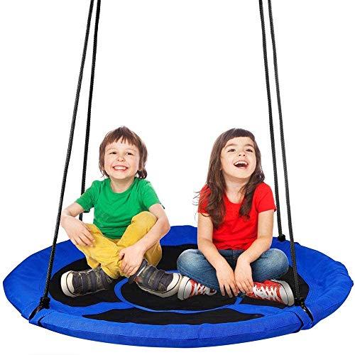 YOLEO Grande balançoire Ronde pour Enfant,Balançoire Nid dOiseau Diamètre 100 cm à Suspendre Ajustable pour Enfant Adulte Jardin Extérieur, Poids max150 kg
