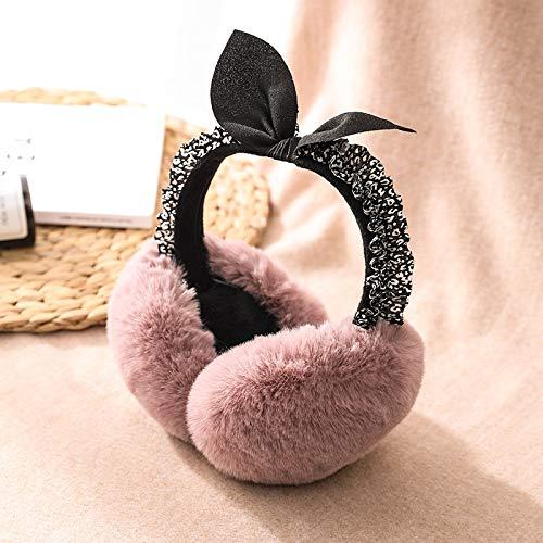 YLL Plegable Orejeras Mujer de Invierno Arco Orejeras Orejeras Caliente Coreana Marea del oído Bolsa oído Masculino Cubierta (Color : Rosado)