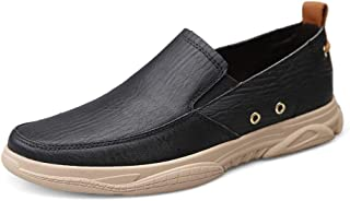 XueQing Pan Loafers for Men Driving Shoes Slip On Genuine Leather Breathable Non-Slip Solid Color Flexible Elastic Bands Casual Walking Round Toe (Color : Black, Size : 6.5 UK)