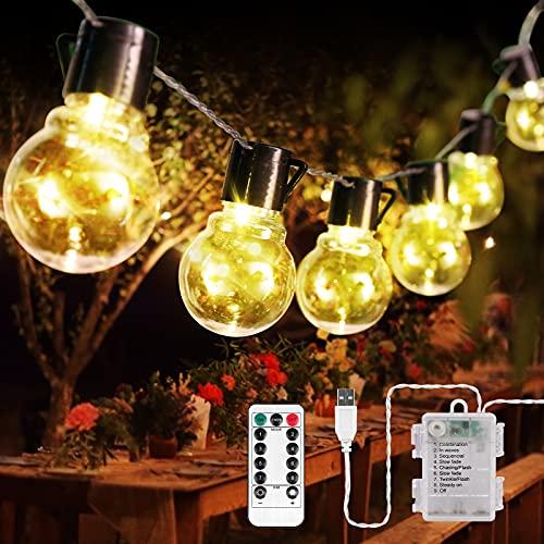 Lichterkette Glühbirnen Außen, 3M 20er LED Aussen G40 Glühbirnen Lichterkette mit Batterie, 8 Modi Wasserdichte Lichterkette, Warmweiß Garten Lichterkette Beleuchtung für Party Garten Hof Balkon