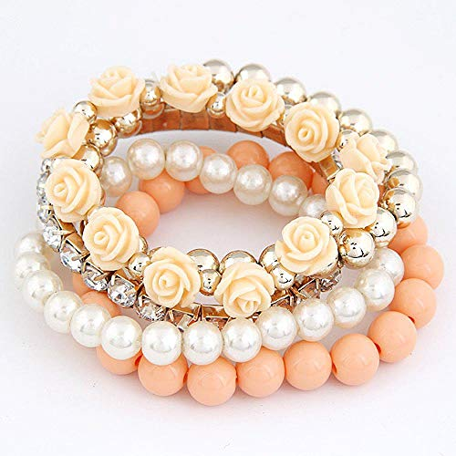 Braccialetto Fashion Candy Color Pearl Rose Flower Perline Multistrato Stretch Charm Bracelet & Bangle for Women Orange