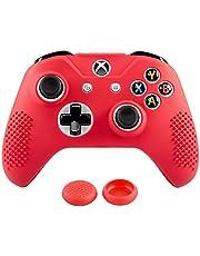 eXtremeRate Funda Silicona para Mando Xbox One Carcasa Suave Cubierta Antideslizante Protectora para Mando Controlador de Xbox One S/X con Dos Grips de Joyticks(Rojo)