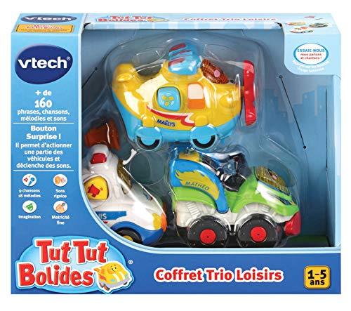 Vtech – TUT TUT Bolides – Trio Freizeit (Avion + Polizei + Quad) – interaktive Autos zum Sammeln – französische Version