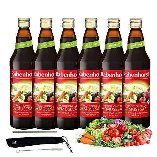 Rabenhorst Saft Traditioneller Gemüsesaft Bio 6x 700ml Vegan 100% Bio-Direktsaft aus Tomaten, Möhren, Rote Bete,Gurken, Sellerie, Sauerkraut und ZwiebelnPLUS fooodz-Trinkhalm Set mit Reinigungsbürste