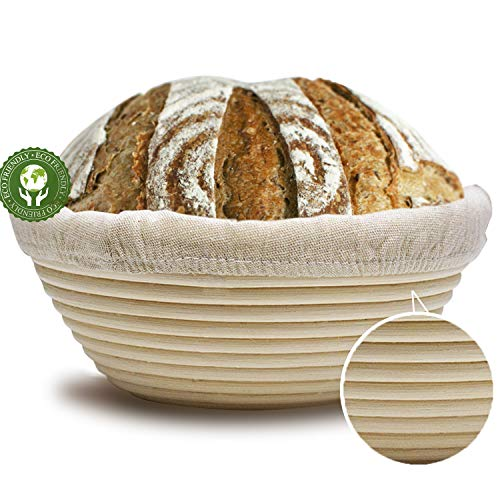 LERYKIN 10' Round Banneton Proofing Basket Set - NATURAL RATTAN French Style Artisan Sourdough Bread Bakery Basket,Dough Scraper/Cutter & Brotform Cloth Liner Included -For Professional & Home Bakers