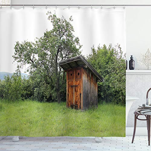Ambesonne Outhouse Shower Curtain, Wooden Little Hut Barn Shed Cottage in Nature Forest Image, Cloth Fabric Bathroom Decor Set with Hooks, 75' Long, Green Brown