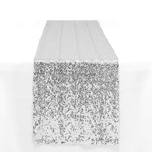 Peomeise 12x72 Inch Sequin Table Runner for Party Event Decorations