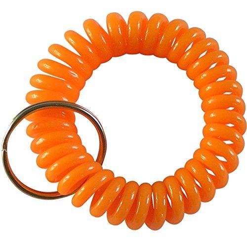 keyfix Schlüsselarmband, Fitness Spiral Schlüsselband für Garderoben und Spind-Schlüssel orange, KF013