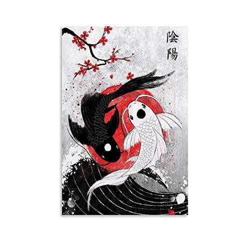 QUSHENG Póster de RubyAr de Koi Fish Yin Yang, cuadro decorativo, lienzo para pared, salón, dormitorio, 30 x 45 cm
