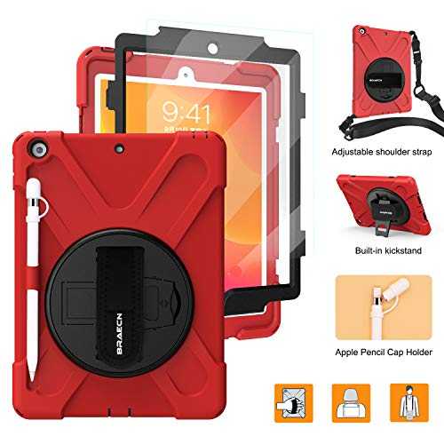 BRAECNstock New iPad 7th Generation Case,Rugged Heavy Duty Case with Pencil Holder/360 Degree Kickstand/Hand Strap/Shoulder Strap for iPad 10.2' 2019-Red