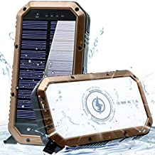 Solar Phone Charger 25000mAh Solar Charger for Cell Phone - Wireless Solar Power Charger Solar Powered Phone Chargers iPhone 6+Times - [Updated] Portable Power Bank -Solar Power Bank (Sandstone)
