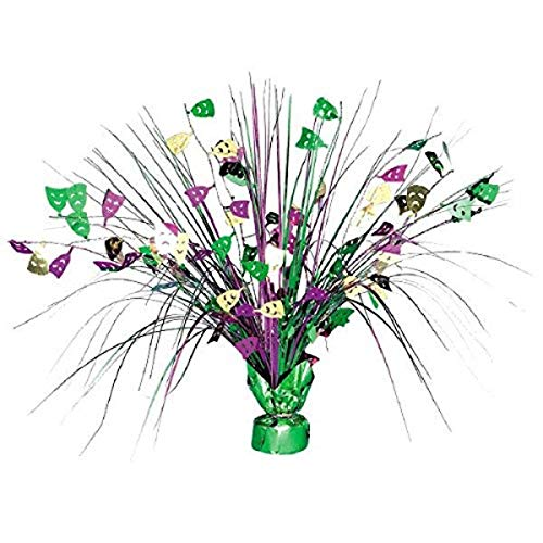 Amscan Eye-Catching Mardi Gras Party Spray Centerpiece Table Decoration, Foil, 18' Party Supplies