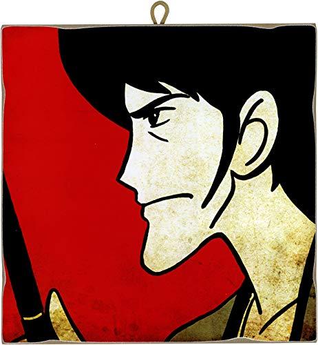 KUSTOM ART Quadro Quadretto Stile Vintage Serie Fumetti Lupin III: Goemon da Collezione Stampa Laser su Legno Alta qualità Made in Italy - Idea Regalo