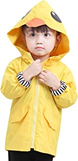 BANGELY Toddler Baby Boy Girl Duck Raincoat Cute Cartoon Hoodie Zipper Coat Outfit Fall Winter Windproof Jacket