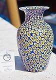 Vaso in Vetro Originale di Murano con Lavorazione murrina Blu