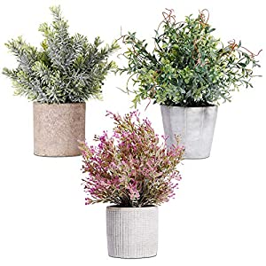 Set of 3 Mini Potted Artificial Seven-Layer Grass Plant Fake Greenery in Paper Pulp Pots Small Houseplants Faux Herbs Green Plastic Flower Bonsai for Indoor Home Bathroom Kitchen Office Decoration