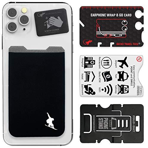 Gecko Travel Tech - Kartenhalter für Smartphones - Haftendes Kartenfach - Handytasche Handy-Tasche in Snowboard