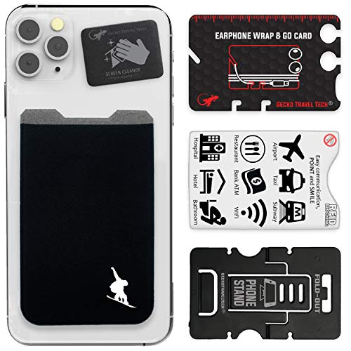 The Gecko Adhesive Card Wallet for Cell Phones, Ultra Slim & Custom Designed (Snowboard)