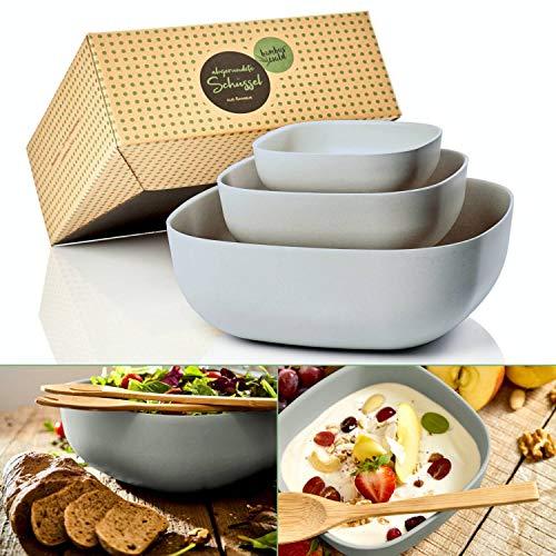 bambuswald© 3er Set ökologische Salatschüsseln - perfekt für Salat, Teig & Pasta - multifunktionale Rührschüssel Servierschüssel Servierschale Schüsselset Behälter Schüssel Salatschale