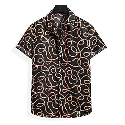 Camicia Uomo Allentata Comoda Camicia Hawaii Camicia con Bottoni con Stampa di Moda Camicia Spiaggia con Colletto alla Kent Camicia Casual Moderna di Tendenza H-008 XXL