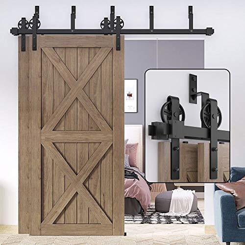 of sliding doors WINSOON Sliding 7.5FT Bypass Barn Door Hardware Double Door Bypassing Track Kit 7.5 Foot, Big Spoke Wheel Hangers