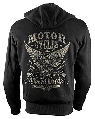 Rebel on Wheels Biker-Hoodie Motorrad-Hoodie Aramid Speedlords Schwarz Kapuzen Jacke Motorrad L